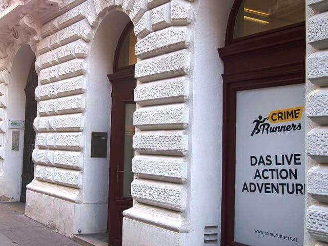 Der Eingang zum Escape The Room Crime Runners