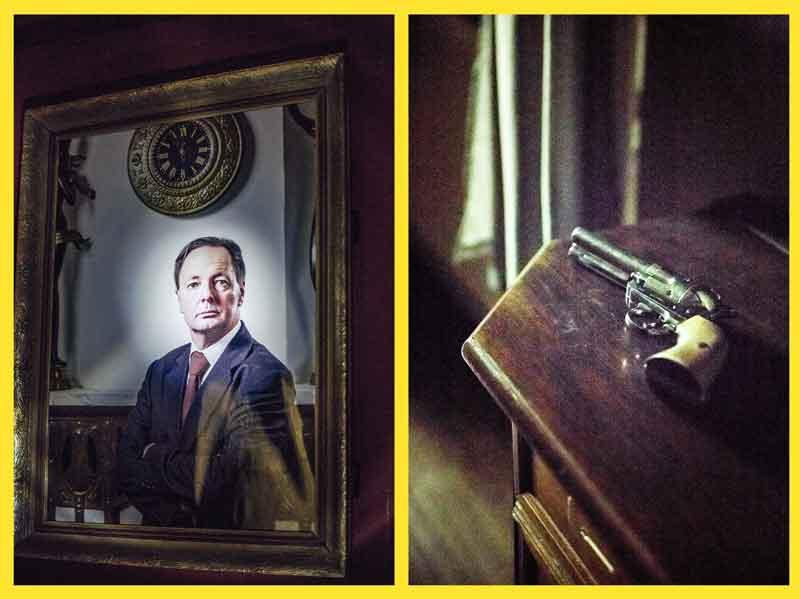 escape room wien - congressman portrait von Politiker und Revolver