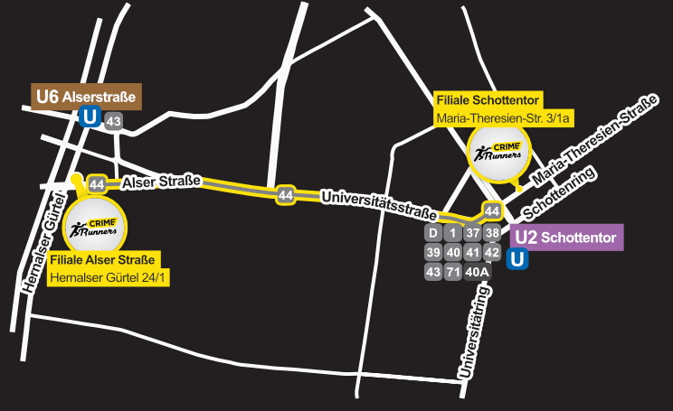 map - Crime Runners - Escape Room Wien